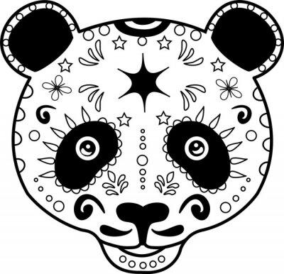 Quadro Ilustração do vetor da cabeça de um panda preto e branco