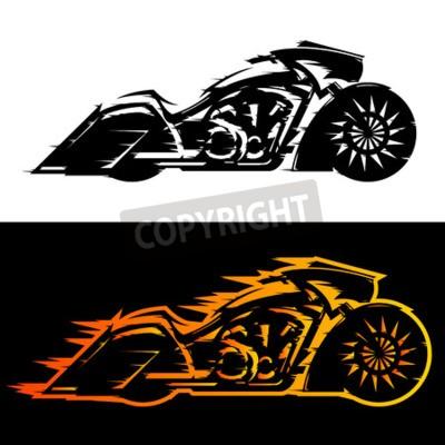 Quadro Ilustração do vetor da Motocicleta estilo bagger, moto personalizada Baggers coberta de chamas