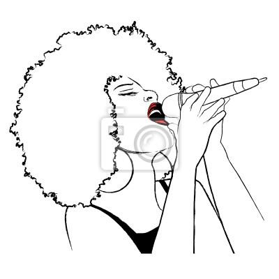 Quadro Ilustração do vetor de uma cantora de jazz afro-americano