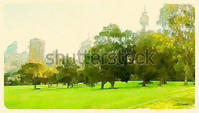 Quadro ilustração em aquarela sydney central park