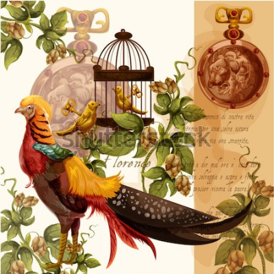 Quadro Ilustração em vetor digital aquarela com leão de Florença e faisão ideal para impressões têxteis e decorações