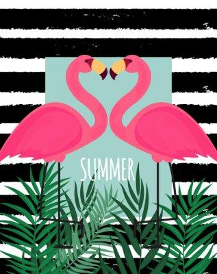 Quadro Ilustração em vetor fundo bonito rosa Flamingo verão