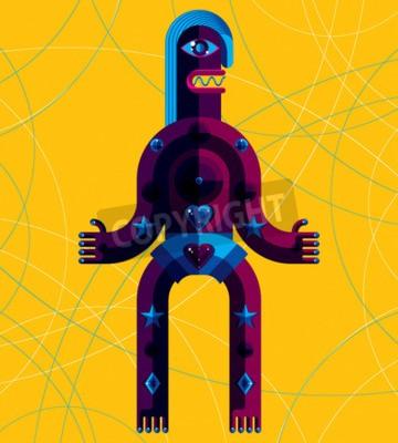 Quadro Ilustração gráfica do vetor, caráter anthropomorphic isolado no fundo da arte, avatar moderno decorativo feito no estilo do cubism.