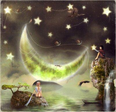 Quadro Ilustração mostra a ilha de conto de fadas no céu