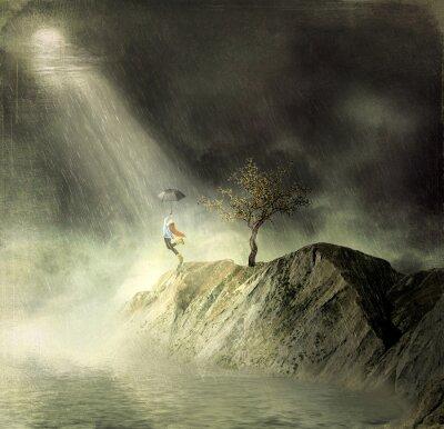Quadro Ilustração mostra uma menina na montanha de. Uma menina com um guarda-chuva danças na chuva