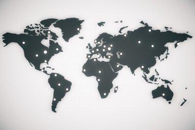 Quadro Ilustração, mundo, mapa, capitais, 3D, render