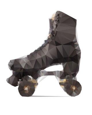Quadro Ilustração poligonal de rollerskate preta isolada