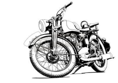 Quadro Ilustração velha da motocicleta