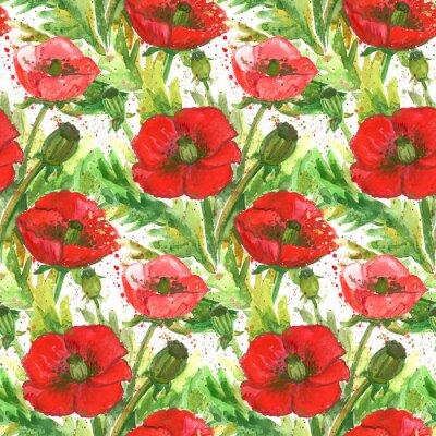 Quadro Ilustração vermelha da aguarela das papoilas