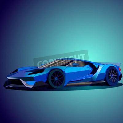 Quadro Ilustração vetorial do novo carro esportivo azul.
