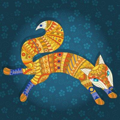 Quadro Ilustração, vitral, estilo, abstratos, gato, peixe
