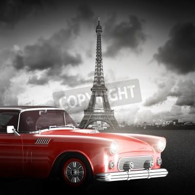 Quadro Imagem artística da torre Eiffel, de Paris, de France e de carro retro vermelho.