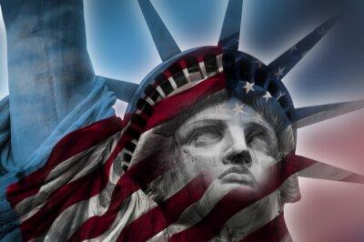 Quadro Imagem dupla exposição da Estátua da Liberdade e da bandeira americana
