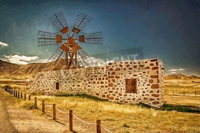 Quadro Impression de um moinho de vento em Fuerteventura, Canárias, Espanha