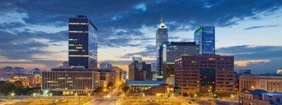 Quadro Indianapolis. Imagem de Indianapolis skyline ao pôr do sol.