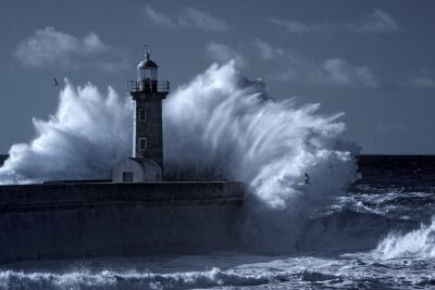 Quadro Infravermelho, tempestuoso, farol