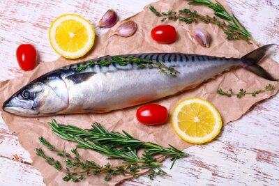 Quadro Ingredientes para assar os filetes do scomber, incluem o carboard cru, o limão, o alho, o rosemary