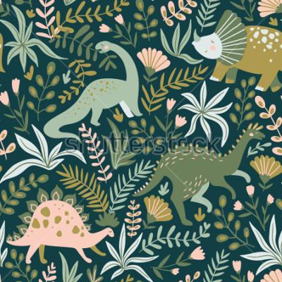 Quadro Insira o teste padrão sem emenda desenhado com dinossauros e folhas e flores tropicais. Perfeito para crianças tecido, têxteis, papel de parede de berçário. Projeto bonito de dinossauro