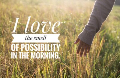 Quadro Inspirational motivational quote - I love the smell of possibility in the morning. With warm morning light over the field & young woman hand touch the leaves of paddy in field background.