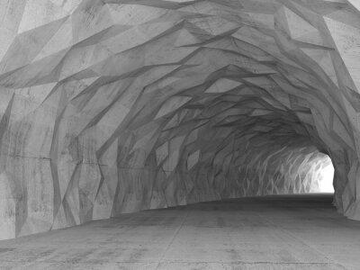 Quadro Interior do túnel 3d com alívio poligonal caótico