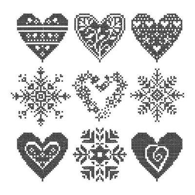 Quadro inverno amo seamless coração negro