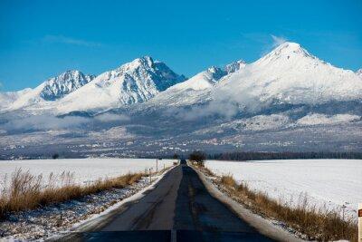 Quadro Inverno, condução, -, Inverno, estrada país, estrada, dirigindo, através, Inverno, montanha, paisagem.
