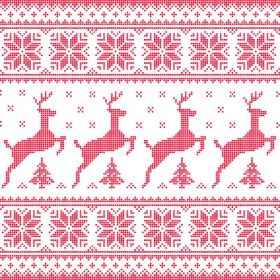Quadro Inverno, Natal padrão pixelizada sem costura vermelha com cervos