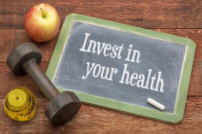Quadro Invista em sua conselhos de saúde no quadro-negro