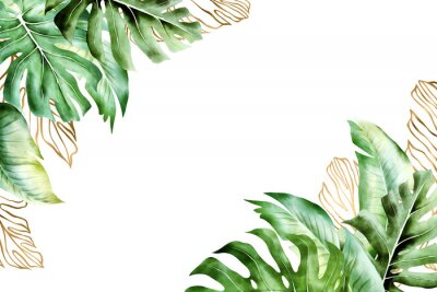 Quadro Isolated tropic palm leaves frame