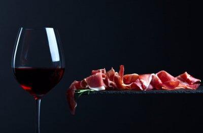 Quadro Jamon com vinho tinto