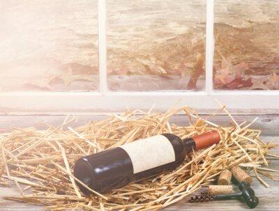 Quadro Janela, luz, vinho, garrafa, Descansar, palha