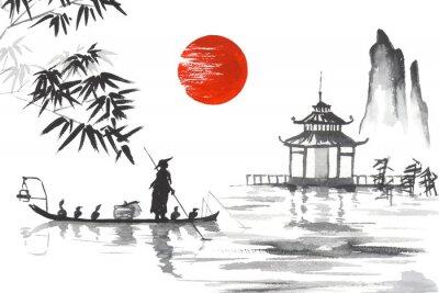 Quadro Japão Pintura japonesa tradicional Arte de Sumi-e Japão Pintura japonesa tradicional Arte de Sumi-e Homem com barco