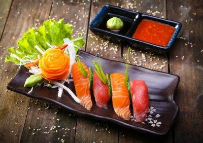 Quadro Japonês, salmão, atum, sushi, molho, closeup