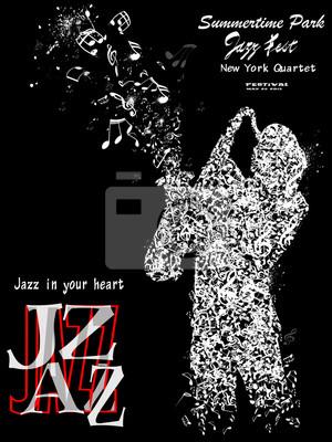 Quadro Jazz cartaz com o saxofonista