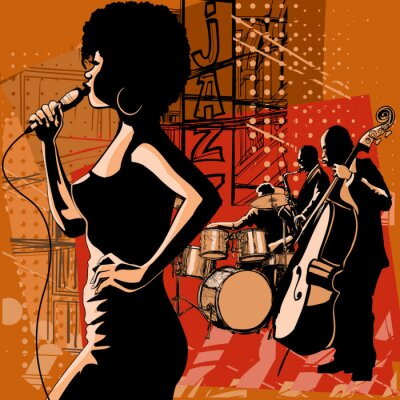 Quadro Jazz singer with saxophonist and double-bass player