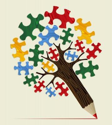 Quadro Jigsaw estratégico árvore conceito lápis