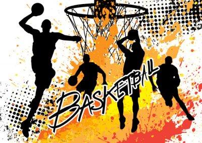 Quadro jogador de basquete da equipe no fundo branco grunge