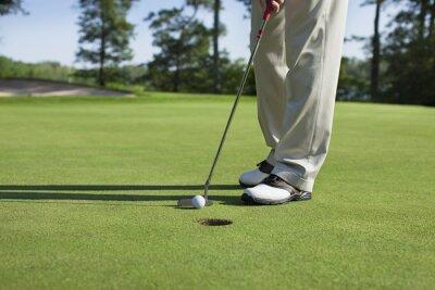 Quadro Jogador de golfe com taco em torneiras no verde com árvores perto de um lago
