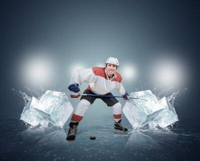 Quadro Jogador de hóquei com cubos de gelo