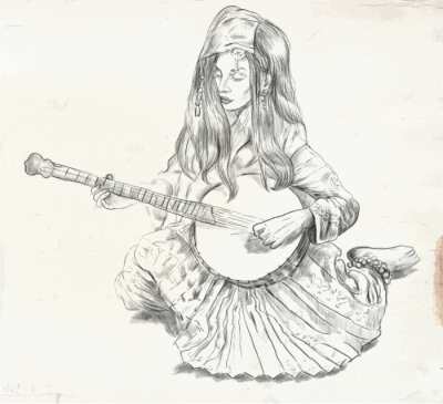 Quadro Jogador do banjo - ilustração do vetor (convertidos)