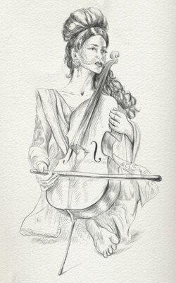Quadro Jogador do violoncelo. De tamanho completo, original.