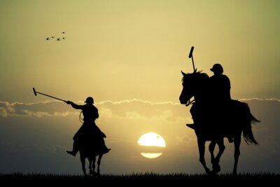 Quadro jogadores de pólo em cavalos