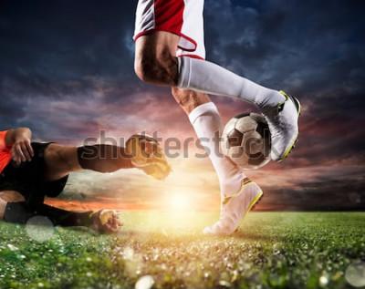 Quadro Jogadores futebol, com, soccerball, em, a, estádio, durante, a, partida