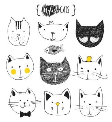 Quadro Jogo de gatos bonitos do doodle. Gato do esboço. Esboço Do Gato. Gato feito à mão. T-shirt da cópia para o gato. Impressão para roupas. Crianças Doodle animais. Gatos do focinho à moda. Gato isolado.