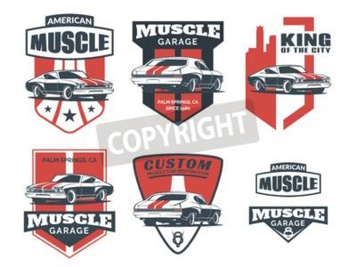 Quadro Jogo do ícone clássico do carro do músculo, emblemas, emblemas e ícones isolados no fundo branco. Serviço de reparação de automóveis, restauração de carros e elementos de design do carro clube.