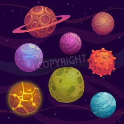 Quadro Jogo dos desenhos animados fantástico planeta no fundo do espaço