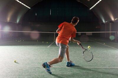 Quadro Jovem, tênis, jogador, chutando, bal