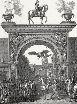 Quadro Kaiser Franz I. zieht em Wien ein im Juni 1814, Kupferstichvorlage