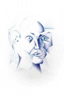 Quadro Kubistisches Gesicht