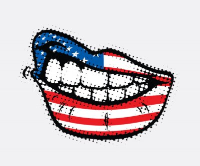 Quadro Lábios se curvaram com bandeira dos EUA
